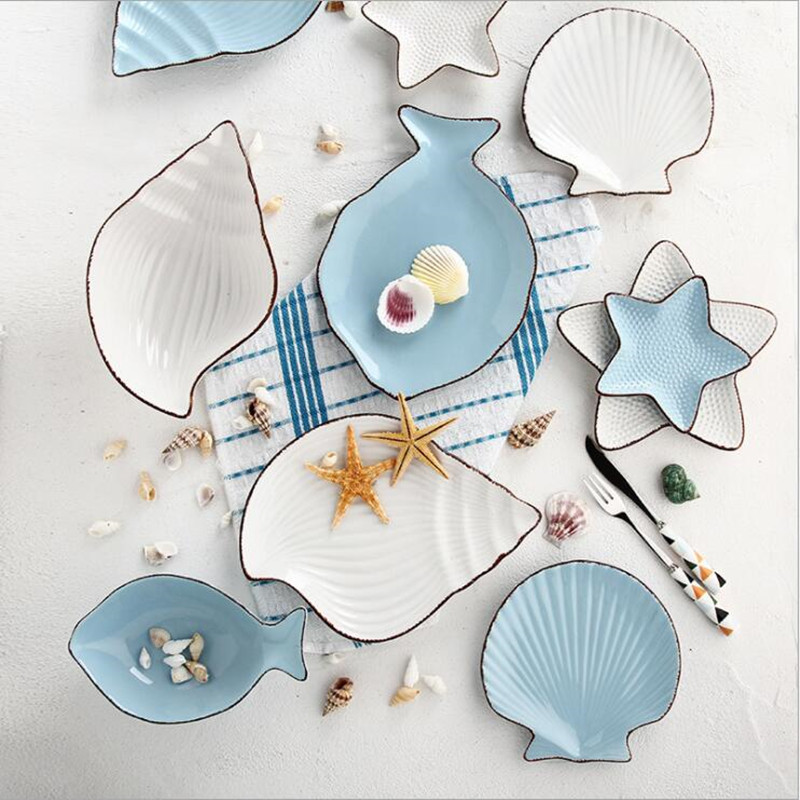 Ocean Series Dinner Set Made with Ceramic for Serving Food Used as Tableware at Home and Hotel