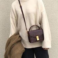 Women's Handbags 2018 PU Leather Small Square Shoulder Bag Crocodile Pattern Cross Body Bag Designer Handbags Bolsa Feminina
