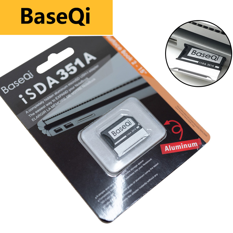 "Baseqi Aluminum For Microsoft Surface Book 2 15"" Minidrive Memory Stick Pro Duo Adapter For Macbook Air Pcmcia Card Mount Ssd"