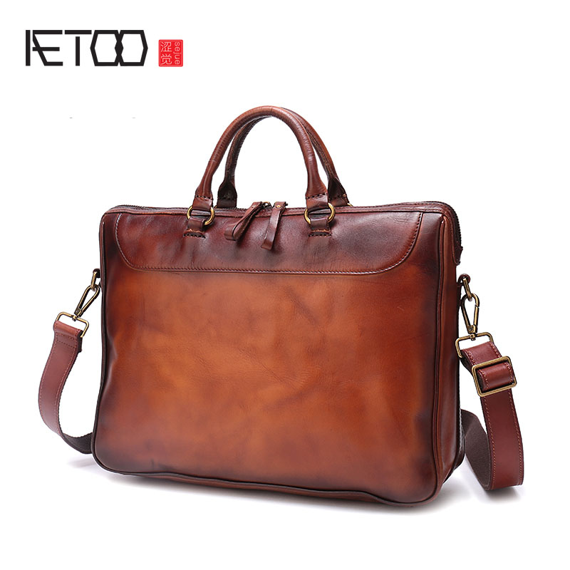677a97d1b25b AETOO Handmade mens handbag Imported vegetable tanned leather retro casual  briefcase large-capacity cross-section compu
