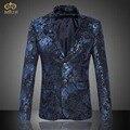 MIUK 2017 Большой Размер Цветочные Блейзер Мужчины Марка Одежды 6XL 5XL национальный Стиль Темно-Бордовый Мужчины Blazer Slim Fit Блейзер Masculino