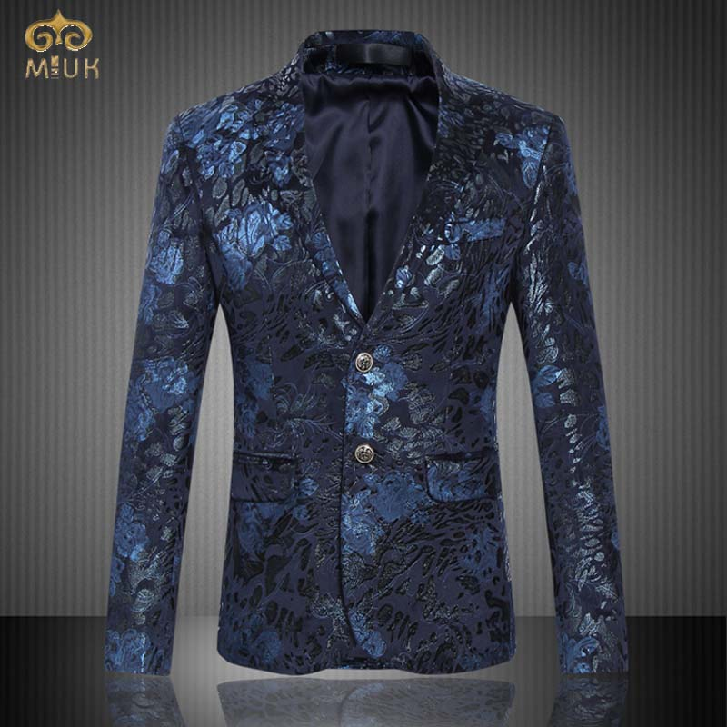 MIUK 2017 Large Size Floral Blazer Men Brand Clothing 6XL 5XL National Style Navy Wine Red