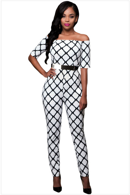 European style sashes half sleeve women rompers fashion sexy print all match spliced geometric sexy slim ladies jumpsuits K56