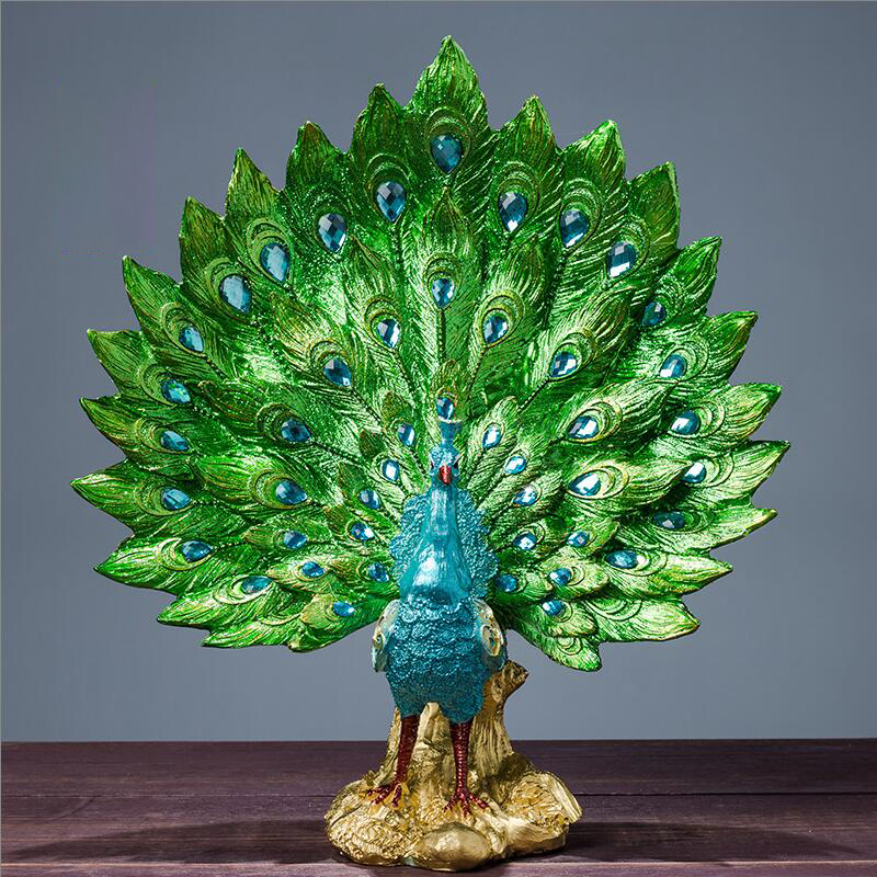 Original Resin Pure Green Phoenix Figurine Peacock Decor