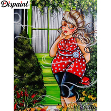 Dispaint Full Square/Round Drill 5D DIY Diamond Painting Fat woman Embroidery Cross Stitch 3D Home Decor A06315