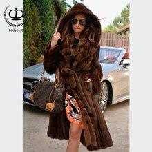 2018 New Real Mink Fur Coat With Big Hood X-Long Coat Fur Natural Women Mink Genuine Fur Jacket Overcoat Winter Luxury MKW-207