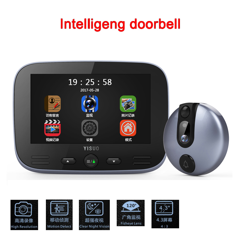4.3 HD 1080P LCD Color Screen video door phone Digital Door Viewer Smart Peephole Camera Night Vision Doorbell Home Security 3 5 lcd color screen video door phone digital door viewer smart peephole camera night vision doorbell home security