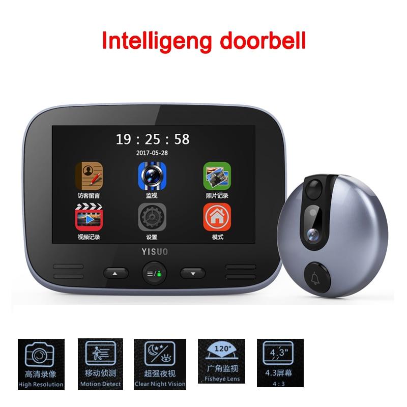 4 3 HD 1080P LCD Color Screen video door phone Digital Door Viewer Smart Peephole Camera