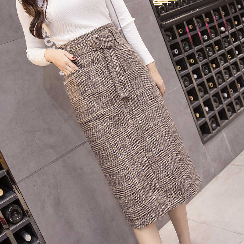 ea1eb9b144098b ... Long woolen warm plaid skirts womens 2019 spring autumn high waist  belted elegant office work midi ...
