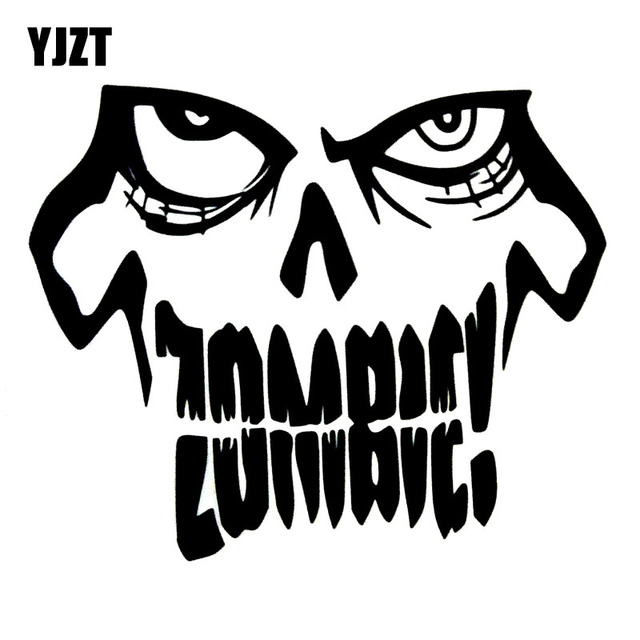 Yjzt 1411 5cm funny zombie skull black silver vinyl decals car window stickers
