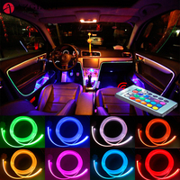 AZGIANT 4 Meters Car LED Auto Fiber Atmosphere Lamp 360 Degrees of Illumination Highlight LED Colorful Lamp Beads EL Cold Light