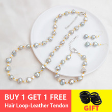 ASHIQI Natural Baroque pearl Jewelry Sets Real Freshwater pearl Necklace Bracelet 925 sterling silver earrings women New Arrival недорого