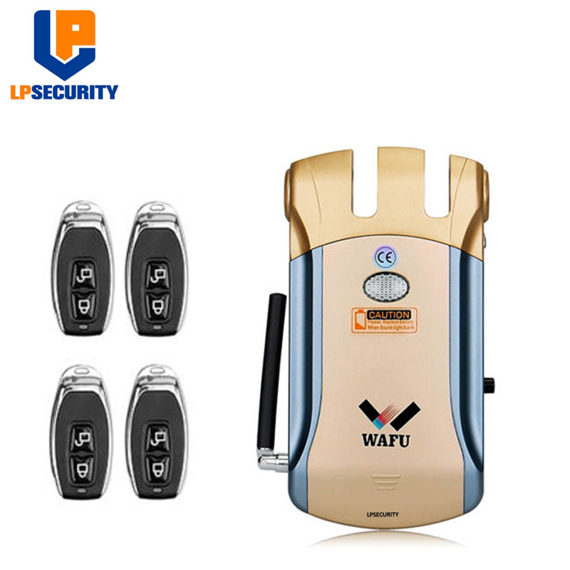 LPSECURITY sécurité sans fil Invisible sans clé entrée électronique serrure de porte maison intelligente télécommande serrure intelligente avec 4 clés à distance