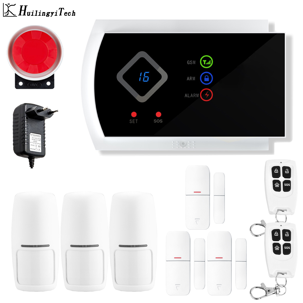 HuilingyiTech GSM Wireless Home Business Burglar Security Alarm System Remote Control Siren RFID Motion Detector PIR Sensor