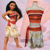 2017 Hot Moana Princess Cosplay Costumes Hawaii Maui Style Women Sexy Savage Tops And Skirts Kids