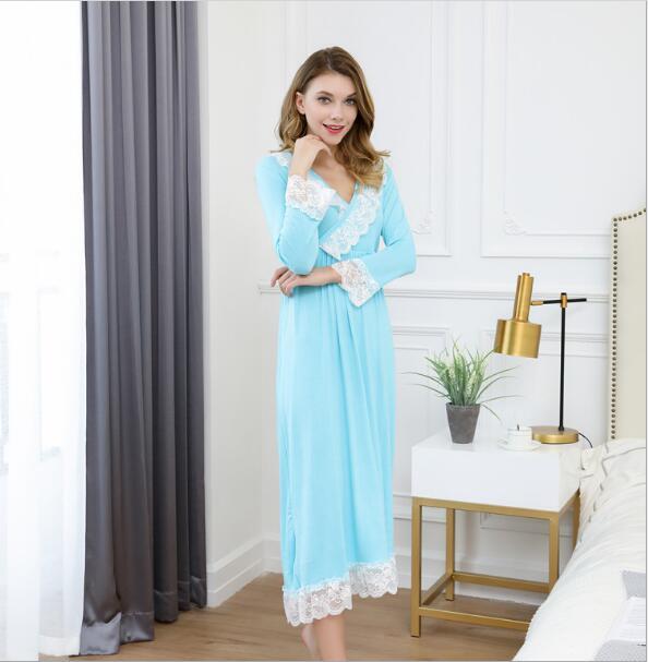 Fdfklak Sexy Sleepwear Nighties For Women Sleeping Dress Cotton Princess Nightgown Night Wear Long Nightgown Plus Size M-XXL