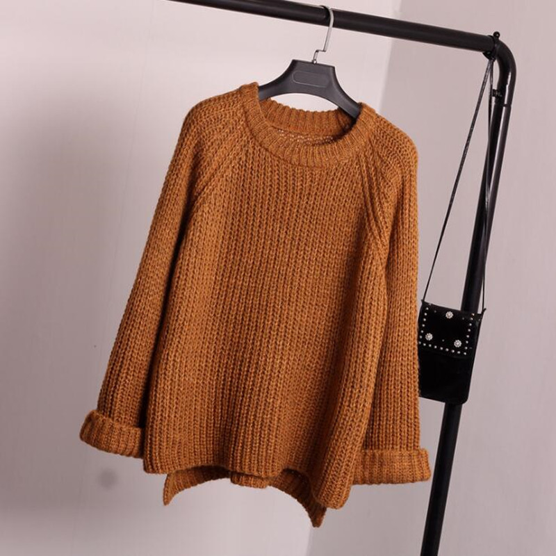 New 2017 autumn/winter fashion round neck sweaters women loose coarse needle brief paragraph, backing turtleneck sweater coat