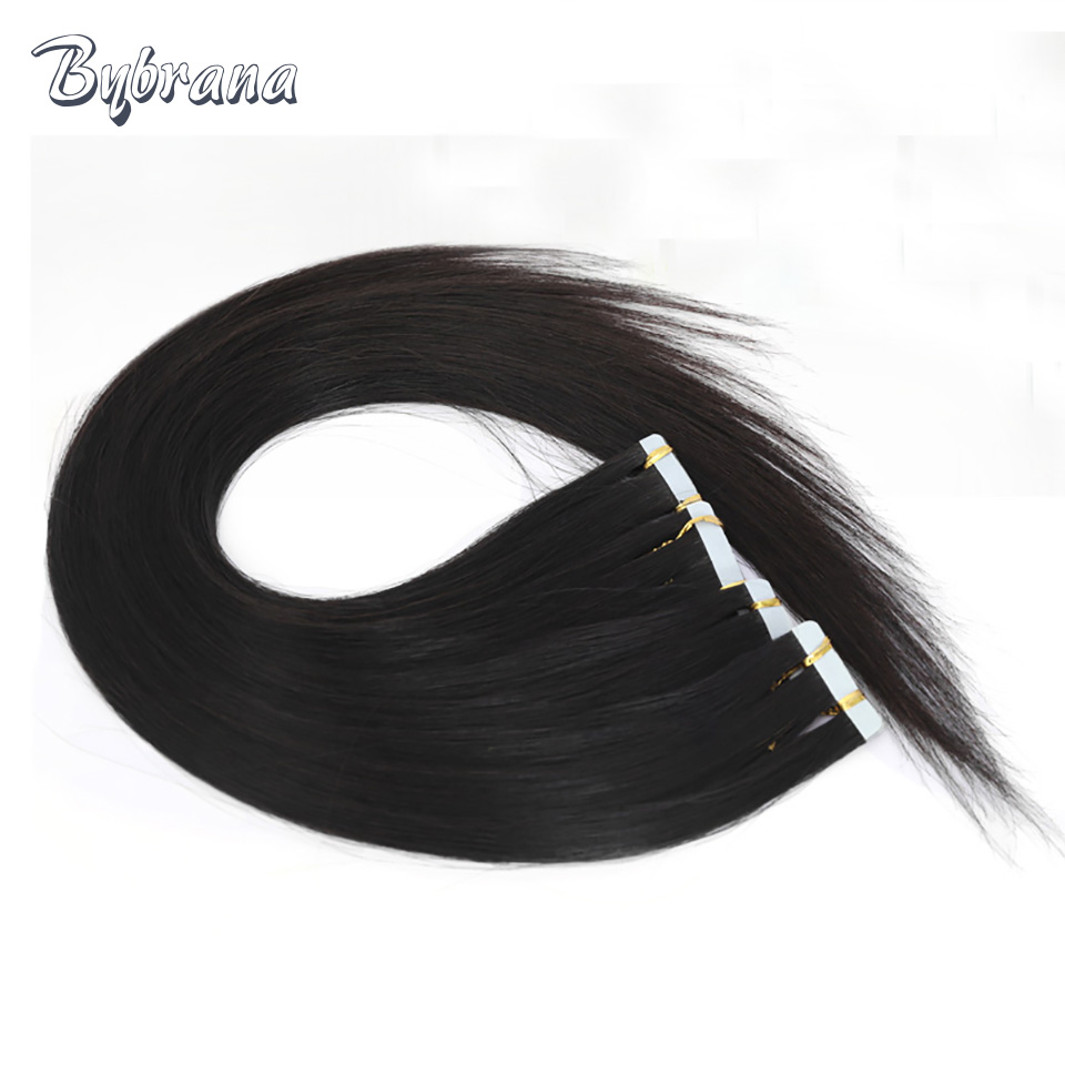 Brbrana 2cm Wide Brazilian Hair 12-28 Tape In Human Hair Natural Color 20pcs Remy Hair Black Tape In Hair Extensions