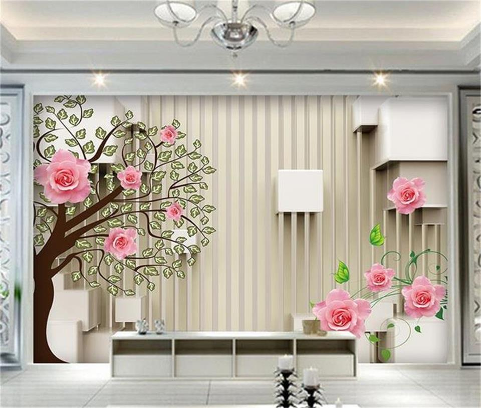 3d photo wallpaper custom living room mural rose flower big tree photo picture TV background wall sticker wallpaper for wall 3d