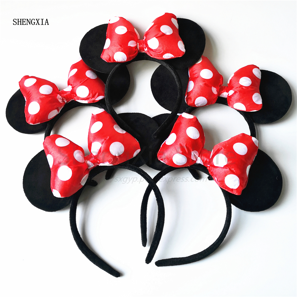 Minnie Mouse Ears Headband for Girls White Polka Dot  Birthday Princess