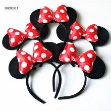 Повязка на голову для девочек Микки и Минни Маус Мышь День рождения подарок Мышь уши Минни-Маус и повязка на голову Для женщин детские аксессуары для волос