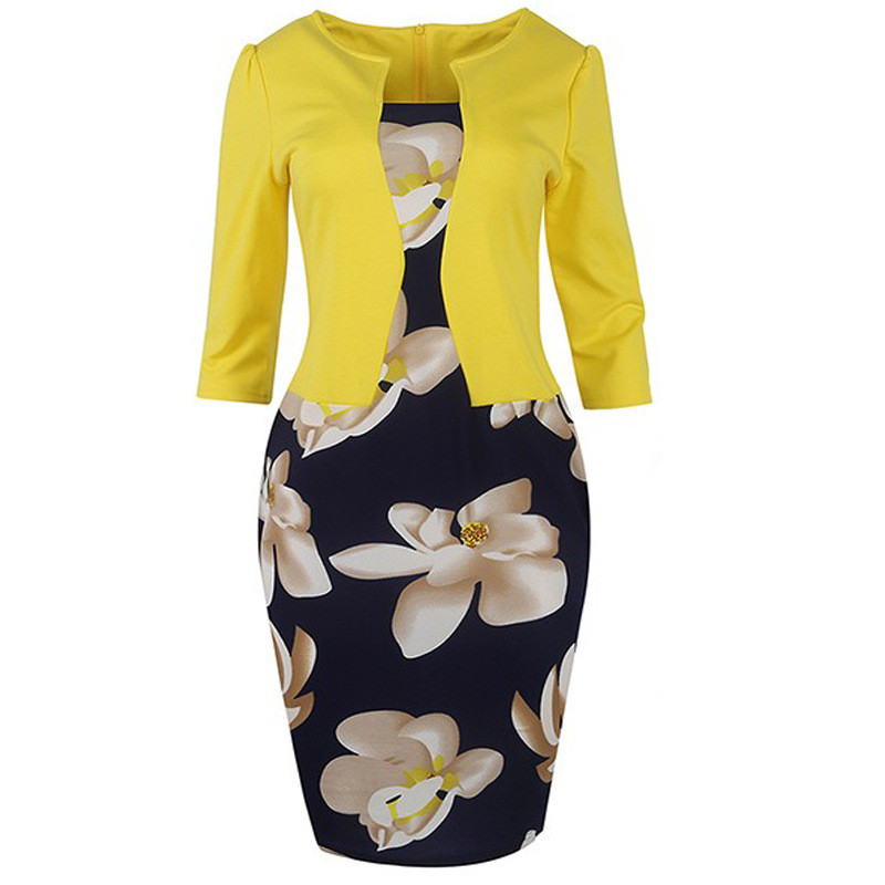 New 2019Women Fall One Piece Patchwork Floral Print Elegant Business Party Formal Office Bodycon Bubble Sleeve Joint Printing.