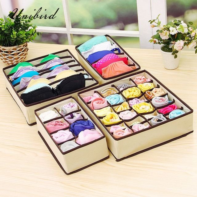 Unibird 4Pcs/Set Underwear Storage Box Bra Clothing Socks Drawer Organizer Closet Scarf Foldable Home Wardrobe Boxes