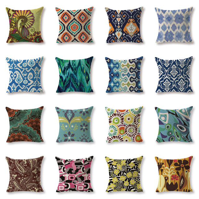 Customized Cushion Cover Ikat Cushions Chair Sofa Soft Large Cotton Linen Home Decorative Printing Throw