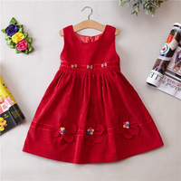 Girl Autumn Winter Clothing Children S Garment Corduroy Round Neck Sleeveless Dress Princess Dress Party Dress