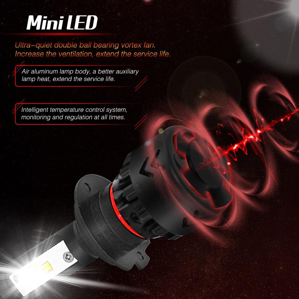 מנורות לרכב YIRAY רכב פנס LED H7 H4 LED H1 H11 9005 / HB3 מנורות ערפל 9006 / HB4 80W 9600LM 6000K 12V 24V לרכב פנס COB נורות רכב (4)
