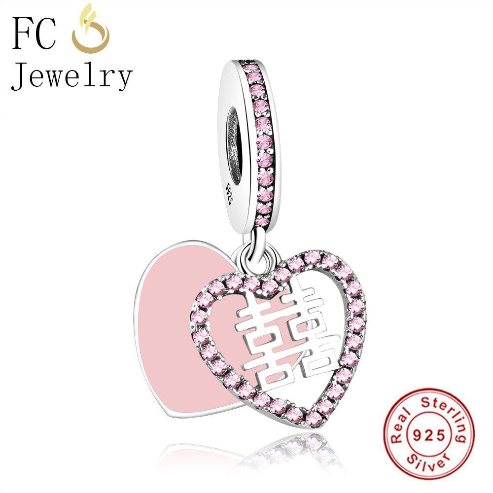 FC Jewelry Fit Original Pandora Charms Bracelets Berloque 925 Sterling Silver Hearts Bangle Necklace Pendant Beads Making DIY