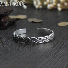 Fyla Mode Vintage Bracelets Twisted Braiding 999 Thai Silver Wires Cuff Bangles Bracelets Jewelry For Men Women Jewelry 10mm