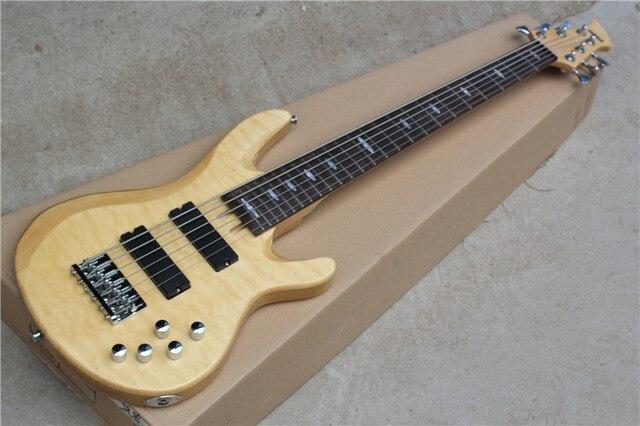 Factory Custom 6 saiten 24 bünde natürliche holz körper e bass mit ...