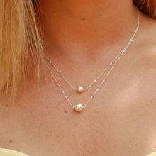 Простое Двухслойное жемчужное ожерелье (Цвет: золотой серебряный)