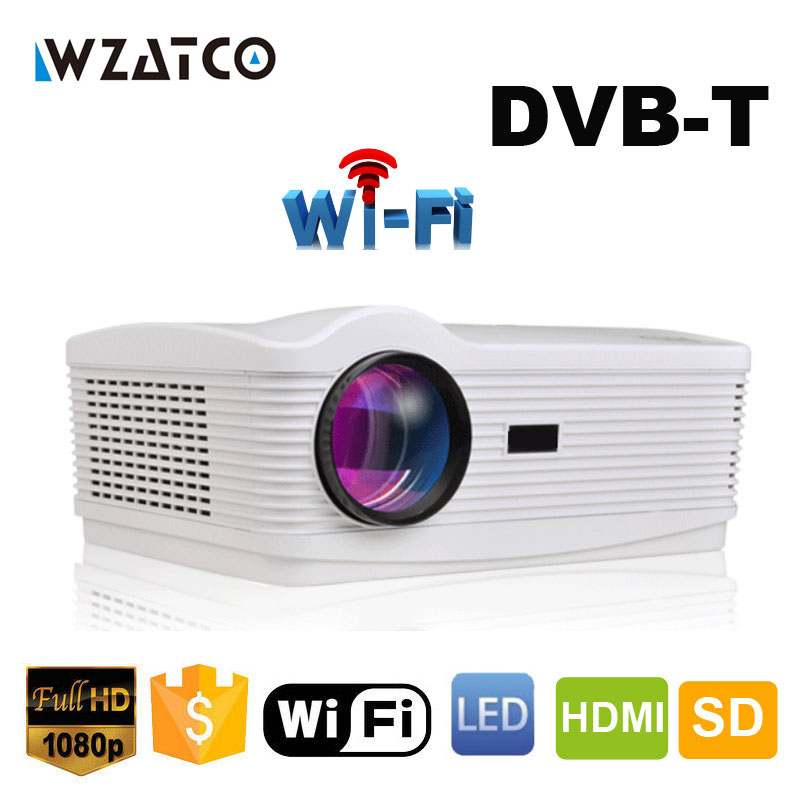 WZATCO Best Android 4.4 Wifi Smart DVBT Digital TV Proyector Beamer Led 3D Projector 1080P Full HD 5500Lumens for home theater