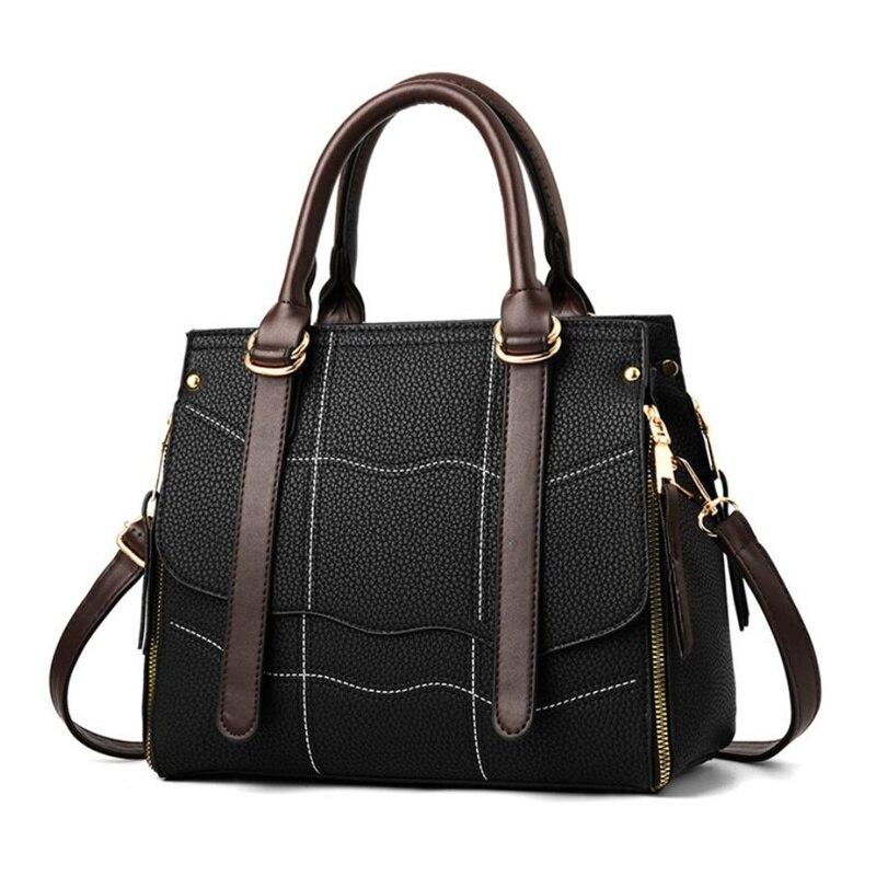 CAK Women Business PU Leather Handbags Ladies Large Tote Bag Female Square Handbags New Fashion Girls Crossbody Bags CAK350 square pu tote bag