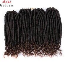 MokoGoddess вязанные волосы для наращивания богиня Faux locs Curly вязанные косички синтетические волосы Омбре косички