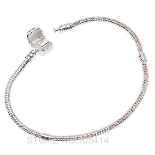 Fashion European Silver Plated Snake Chain PAN Bracelets & Bangles Stamped Crown Logo Clasp for DIY Women Charms Beads