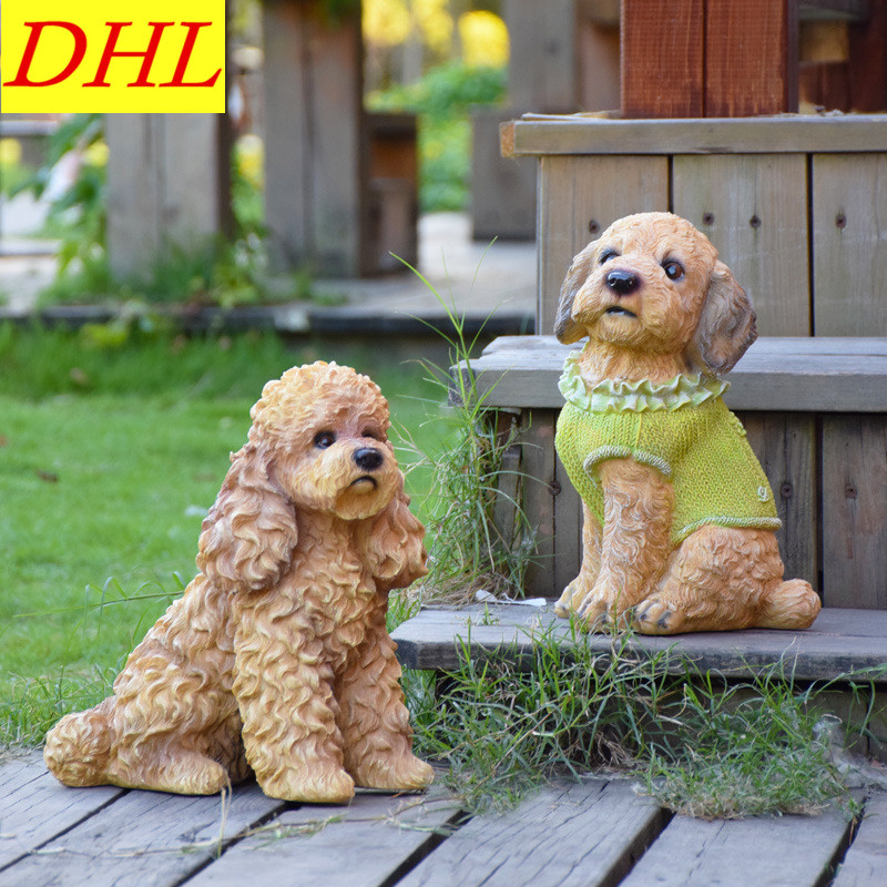 Cute Simulation Poodle Pet Dog Animals Colophony Crafts Home Villa District Decorations Collectible Model Toy L1975 high quality resin bichon frise dog figure car styling home room decoration love poodle decorative article christmas gift toy
