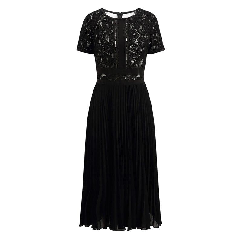 Noir Mode Robes Dresses Femmes 5308 Patchwork Dentelle Pleated Plissées Robe De rnIrpS