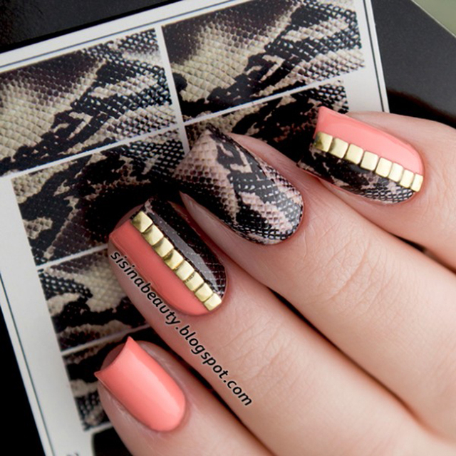 2 Sheets Snakeskin Nail Water Decal Set Black Blue Unique Art Transfer Sticker Manicure