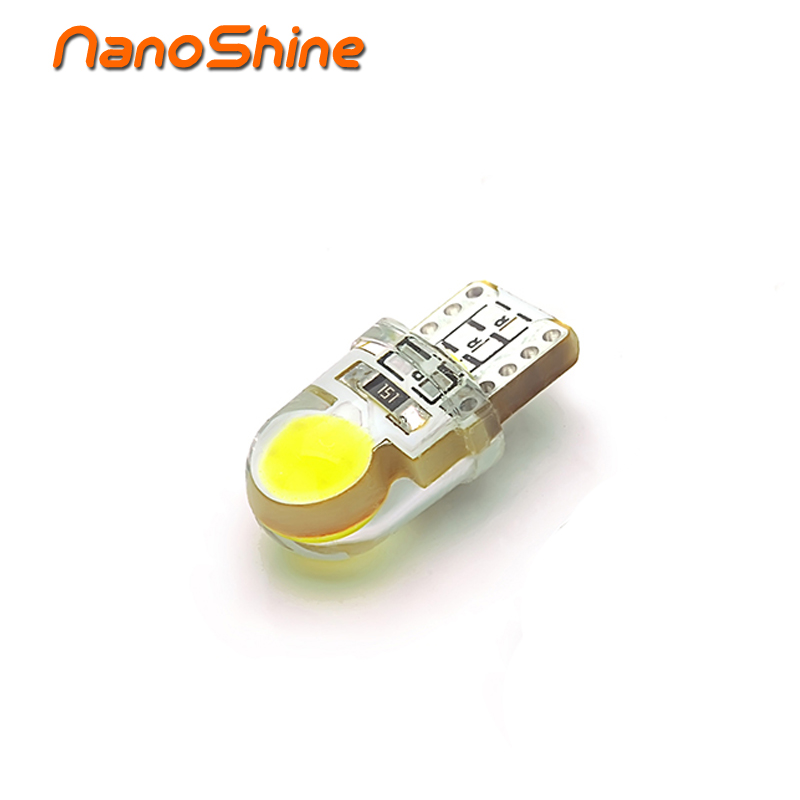 Nanoshine T10 194 168 W5W COB SMD LED bright White License Light car auto Bulb Free Shipping 10x t10 194 168 w5w cob 8 smd led canbus silica bright white license light bulb