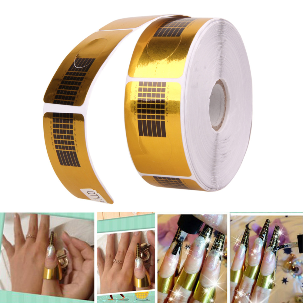 500pcs Professional Nail Forms Gel Tips Gold U Shape Tips Guide Form Gel for Nail Extensions Sticker Nail Care Styling Tools 12pcs set nail art guide tips hollow stencils sticker french manicure template 3d vinyls decals form styling tool