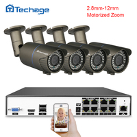 Techage H 265 4MP CCTV System 8CH POE NVR Kit 2 8mm 12mm Motorized Zoom Auto