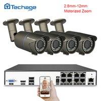 Techage H 265 4MP POE CCTV System 8CH POE NVR 2 8mm 12mm Motorized Zoom Auto