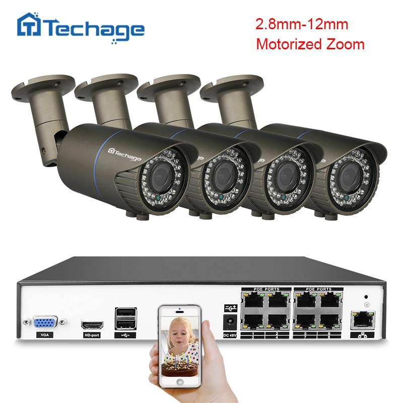 Techage H.265 4MP 8CH POE POE CCTV Sistema de Segurança NVR 2.8mm-12mm Câmera IP Lente Zoom Motorizado sistema de Vigilância de vídeo Set