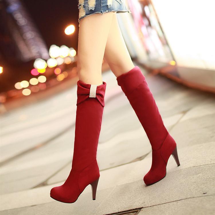 ФОТО Boots Flock New arrival wedding shoes bridal  red high-leg  40 41 42 small yards  high heel 10cCM Platform 1.5CM EUR Size 33-43