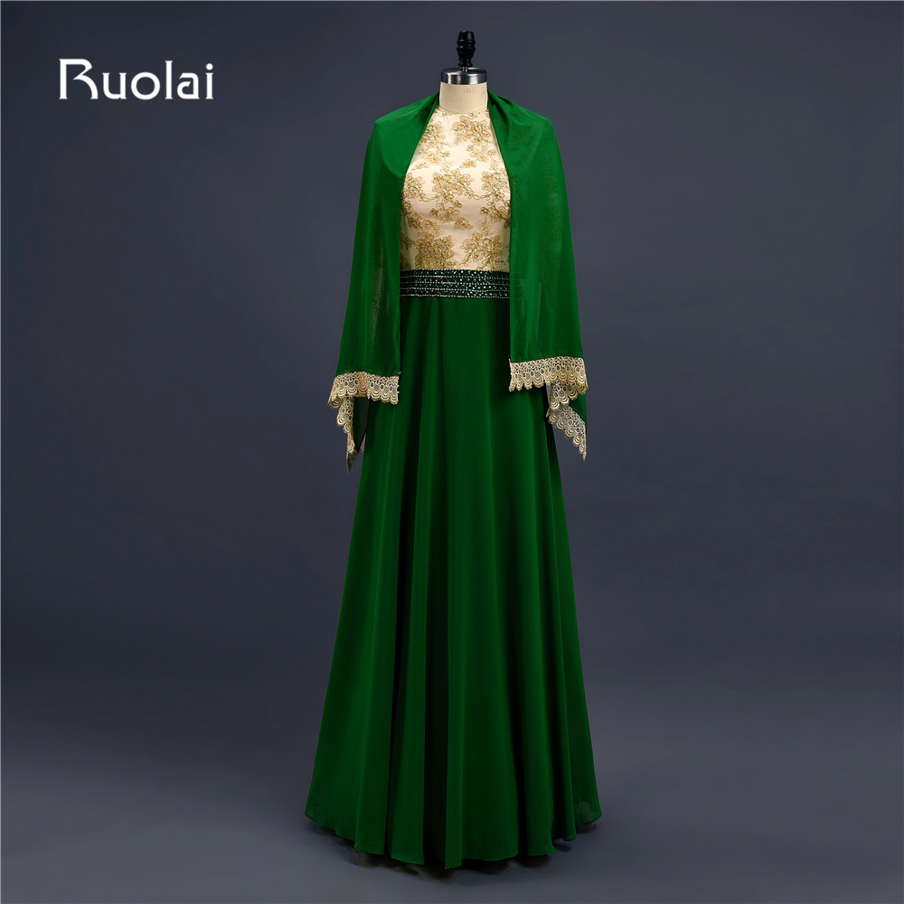Popular Muslim Arabic Evening Dresses Long Sleeves High Neck A-Line Appliques Beaded Chiffon Long Prom Dresses with Hijab AF91