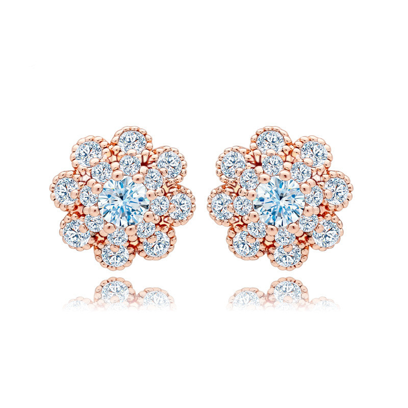 Small Size OL Daily Wear Girls Sweet Clear CZ Stud Flower Earrings ...
