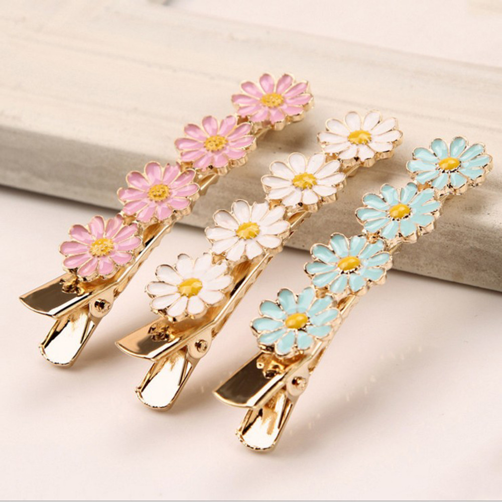 2019 Spring New Style Adult Hairpins Beautiful Small Daisy Flower Hair Clip For Girls Women Metal   Headwear   3 Colors Avaliable